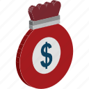 coins, coins sack, dollar, dollar coins, money sack icon