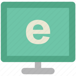 computer, computer monitor, e-learning, explorer sign, monitor icon