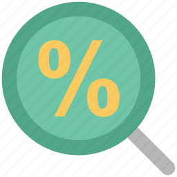 analysis, calculating, investment, magnifying, magnifying glass, mathematical sign, percent sign icon