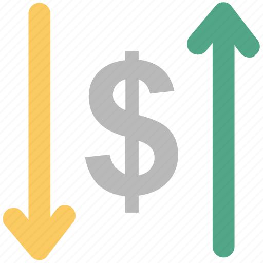 analysis, analytics, dollar valuation, finance, monitoring, up and down icon