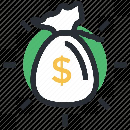 currency sack, dollar sack, money bag, money sack, wealth icon