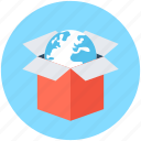 box, cardboard box, package, parcel, worldwide delivery icon