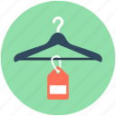 clothes hanger, hanger, label, shopping, tag icon