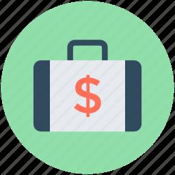 bag, briefcase, case, dollar bag, office icon