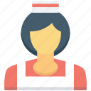 female waiter, food server, hotel staff, waiting staff, waitress icon