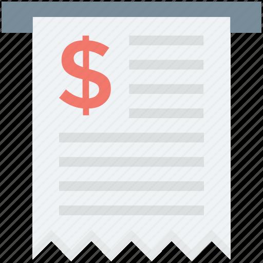 atm receipt, bill, fees, payment, receipt, voucher icon
