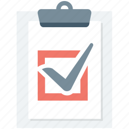 clipboard, memo, ok, paper clip, tick icon