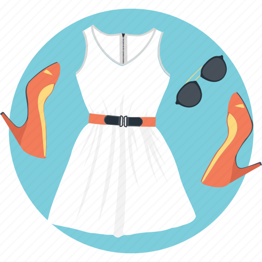 fashion accessories, frock, high heels, sunglasses, woman dress icon