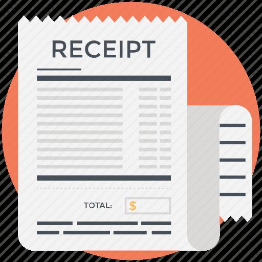 bill, paycheck, receipt, shopping receipt, voucher icon