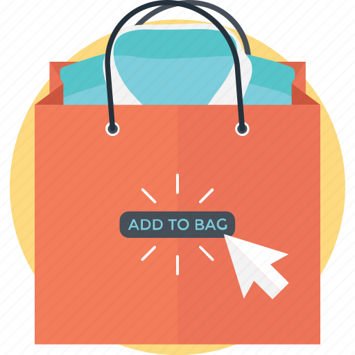add to bag, buy now, ecommerce, online shopping, webshop icon