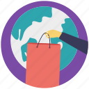 buy online, global, global delivery, international shipping, shopping bag icon
