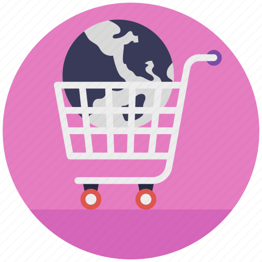 buy online, ecommerce, global market, online shopping, trolley icon