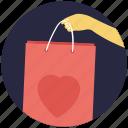 bag, love shopping, shopper bag, shopping bag, valentine gift icon