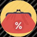 handbag discounts, handbag sale, promotional offer, purse, wallet icon