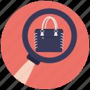 ecommerce, handbag shopping, online shopping, purse, search handbag icon