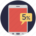 5% discount, mobile discount, mobile sale, promotion offer, sale offer icon
