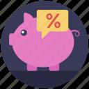 deposits, investment return, percentage, piggy bank, savings ratio icon