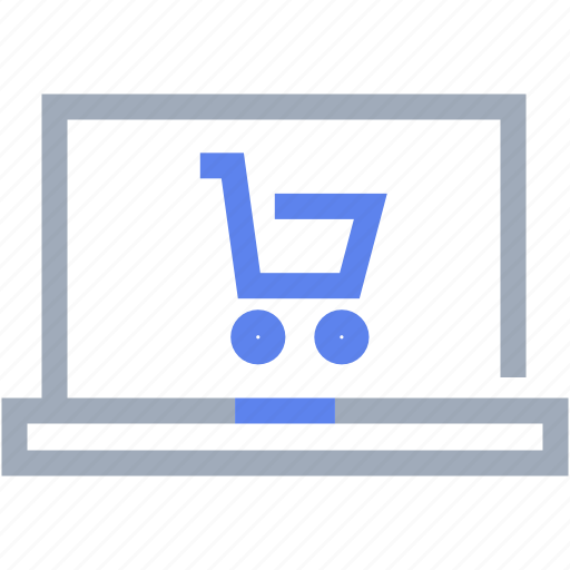 cart, commercial, computer, ecommerce, laptop, shopping trolley icon