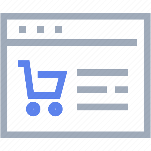 browser, computer, ecommerce, internet, trolley icon