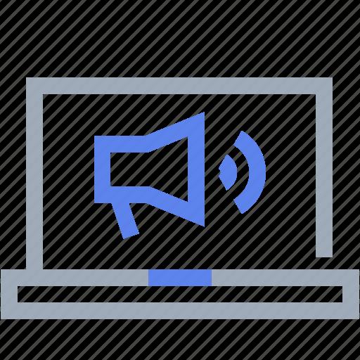 customer service, laptop, megaphone, speech bubble icon