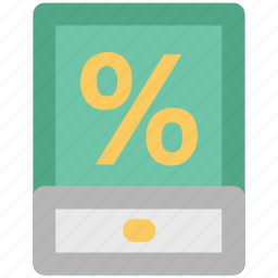discount, ecommerce, economic concept, finance, mobile screen, online shopping, percentage sign icon