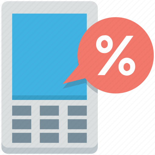 cell phone, mobile discount, mobile on sale, percentage, sale icon