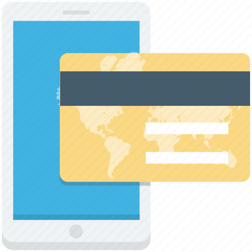 bank card, credit card, mobile, online payment, smartphone icon