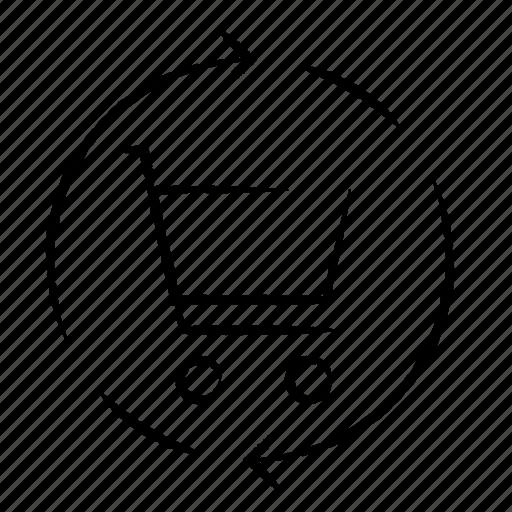 cart, refresh, shopping icon