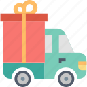 delivery, box, gift, present, shipping, transportation, truck