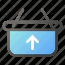 bag, ecommerce, hand, shop, shopping, upload icon