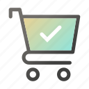 approved, bag, cart, hand, shop, shopping icon