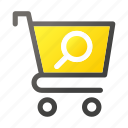 bag, cart, ecommerce, hand, search, shop, shopping icon