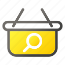 bag, hand, magnifier, search, shop, shopping icon