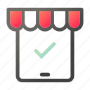 approved, market, shopping, store, tablet icon