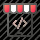 code, market, script, shopping, store, tablet