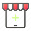 add, market, plus, shopping, store, tablet icon