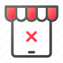 clear, delete, market, shopping, store, tablet icon