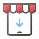 download, market, shopping, store, tablet icon