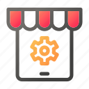cog, gear, market, shopping, store, tablet