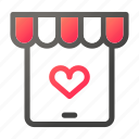 heart, market, shopping, store, tablet icon