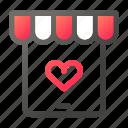 heart, market, shopping, store, tablet