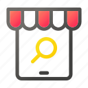 market, search, shopping, store, tablet, zoom icon