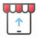 ecommerce, market, shopping, store, tablet, upload