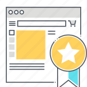 badge, browser, computer, popular, product, shop, star icon