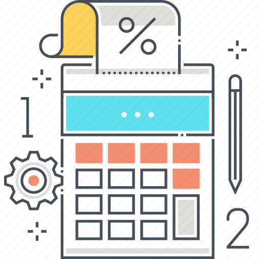 calculator, earnings, invoicing, pencil, print, shopping icon