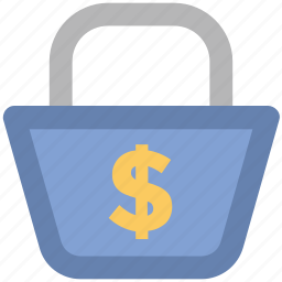 dollar sign, ecommerce, economy, handbag, packaging concept, purchase, web ui icon