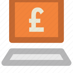 ecommerce, financial infographic, laptop, online banking, online business, pound sign, technology icon