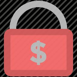 dollar sign, finance security, insurance concept, lock, safe banking, savings, shielding icon