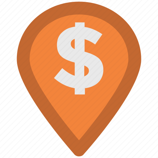 bank, dollar sign, gps, location, locator, map pin, navigation icon