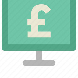ecommerce, economy concept, finance, marketing, monitor screen, pound display, web element icon